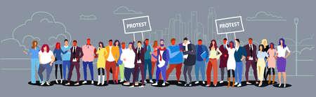 businesspeople group holding protest placard signboard business people crowd standing together city street landscape background demonstration concept sketch doodle horizontal full length vector illustration