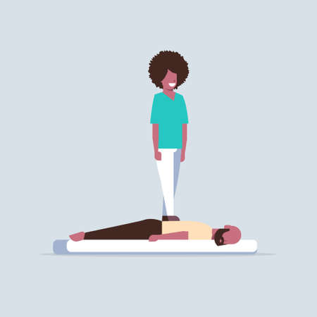 masseuse standing on patient's back doing healing treatment african american guy relaxing lying on table man having massage spa salon manual therapy concept full length vector illustration