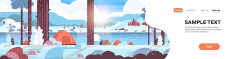 tents camping area in forest winter camp concept sunny day sunrise snowy landscape nature background with water mountains and hills flat horizontal copy space vector illustration Ilustrace