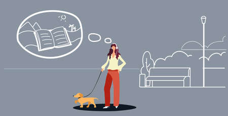 woman walking with dog girl listening audio book through headphones urban park landscape background female character with pet having fun full length sketch doodle horizontal vector illustration