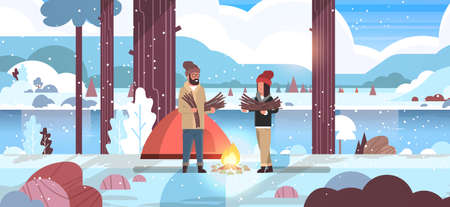 couple tourists hikers holding firewood man woman organizing fire near camp tent hiking camping concept winter landscape nature river mountains background flat horizontal full length vector illustration