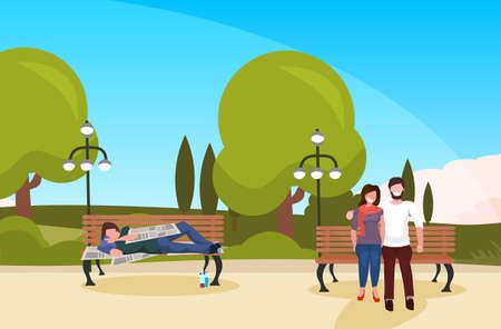bum sleeping outdoor man woman couple walking urban park drunk beggar lying wooden bench homeless concept landscape background horizontal full length vector illustration Illustration