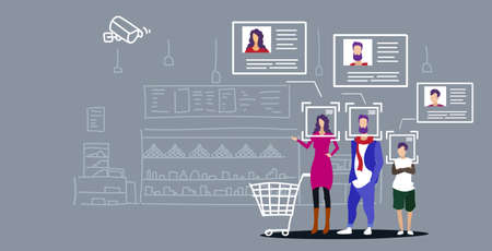 family with groceries in shopping trolley cart customer identification facial recognition concept grocery shop interior security camera surveillance cctv system horizontal sketch doodle vector illustration 向量圖像