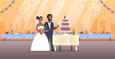 just married man woman cutting sweet cake romantic african american couple bride groom in love wedding day concept modern restaurant interior full length horizontal flat vector illustration Illustration
