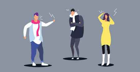 angry businesspeople arguing colleagues screaming to each other business conflict quarrel concept furious office workers full length sketch horizontal vector illustration