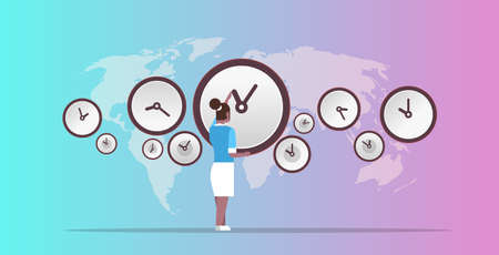 businesswoman pointing on wall with clocks different cities time management deadline concept african ameriscan business woman over world map background horizontal full length vector illustration Ilustración de vector