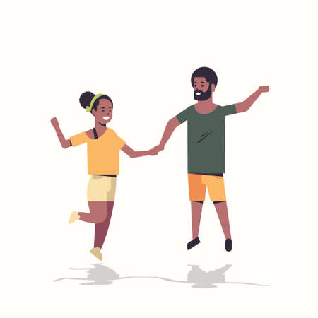 couple holding hands african american man woman jumping having fun white background male female cartoon characters full length flat vector illustration