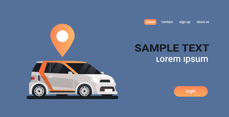 cars with location pin geo tag online ordering taxi car sharing carpooling concept mobile transportation carsharing service copy space flat horizontal vector illustration