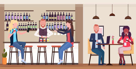 girl taking selfie photo on smartphone camera mix race people relaxing in bar drinking cocktails barman and waitress serving clients modern cafe interior flat horizontal full length vector illustration Illustration