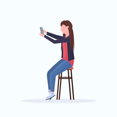 woman taking selfie photo on smartphone camera blonde female cartoon character sitting on chair posing on white background flat full length vector illustration