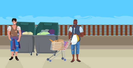 mix race tramps looking for food and clothes in trash can on street african american beggar pushing trolley cart with belongings homeless concept horizontal full length vector illustration