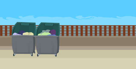two containers for garbage trash can on city street homeless concept horizontal vector illustration