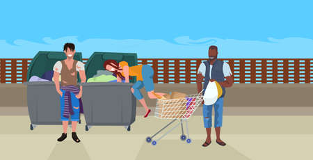 mix race tramps searching food and clothes in trash can on street african american beggar pushing trolley cart with belongings homeless concept horizontal full length vector illustration