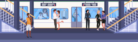 mix race passengers at subway railway underground station men women standing on platform waiting train city transport concept flat horizontal full length vector illustration Vectores