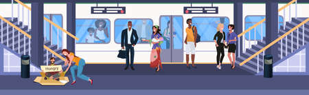 man begging for help girl giving money to beggar with sign board homeless concept mix race passengers at subway railway underground station standing on platform flat horizontal full length vector illustration