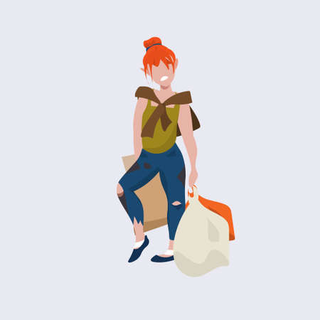 redhead poor woman beggar standing with bags tramp bum girl begging homeless jobless concept flat full length vector illustration