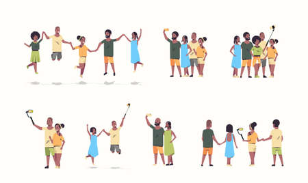 set people group using selfie stick men women taking photo on smartphone camera african american friends having fun cartoon characters collection full length flat white background horizontal vector illustration
