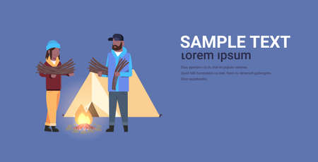 couple tourists hikers holding firewood african american man woman organizing fire camp with canvas tent and campfire hiking camping concept horizontal full length copy space flat vector illustration