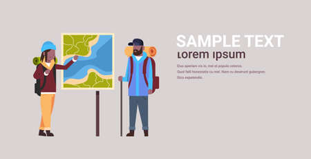 couple of tourists hikers with backpacks looking at travel map african american man woman planning the route hiking concept travelers on hike horizontal full length copy space flat vector illustration Ilustração