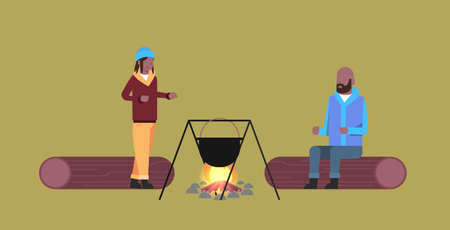 couple of tourists hikers man woman cooking meals in bowler boiling pot at campfire hiking camping concept african american travelers on hike horizontal full length flat vector illustration