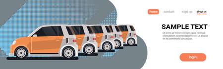 plusieurs voitures de location garées en autopartage centre concept de société d'autopartage service de location automatique en ligne copie plate espace bannière horizontale illustration vectorielle