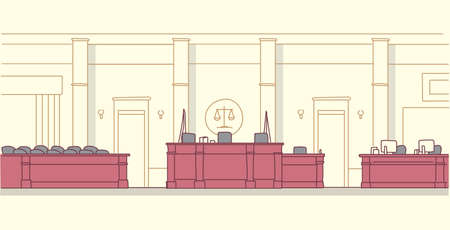 empty courtroom with wooden furniture judge and secretary workplace jury box seats modern courthouse interior justice and jurisprudence concept horizontal banner sketch doodle vector illustration