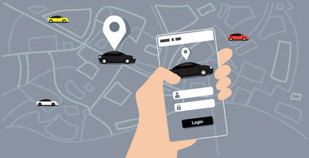 human hand using mobile app online ordering taxi car sharing concept smartphone screen city map transportation carsharing service application sketch doodle horizontal vector illustration