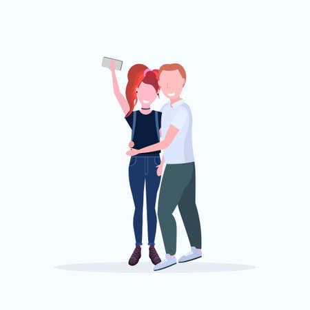man woman couple taking selfie photo on smartphone camera male female cartoon characters embracing posing on white background flat full length vector illustration