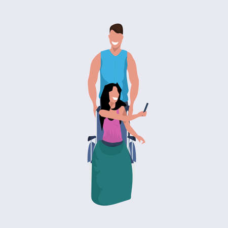 young man volunteer pushing woman sitting in wheelchair guy strolling assisting girl disabled people concept flat full length vector illustration