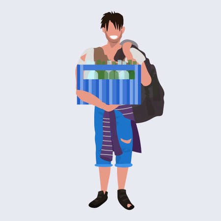 poor man beggar holding box with bottles tramp bum guy begging homeless jobless concept flat full length vector illustration Stock Illustratie