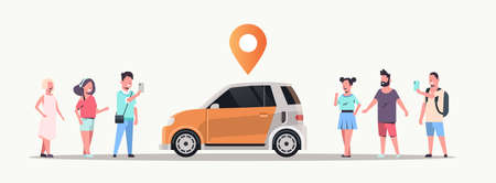 people using mobile application ordering auto with location pin online taxi car sharing carpooling concept transportation carsharing service flat horizontal vector illustration