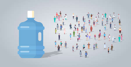 big plastic bottle over people group different occupation employees mix race workers crowd clean water delivery concept horizontal full length flat vector illustration Иллюстрация