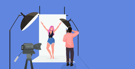 professional photographer using camera man shooting beautiful sexy woman model raising hands posing in modern photo studio horizontal full length flat vector illustration