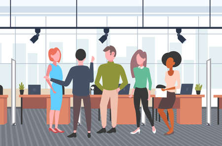 businesspeople group brainstorming mix race business people discussing new project during meeting casual coworkers standing together co-working open space interior flat horizontal full length vector illustration