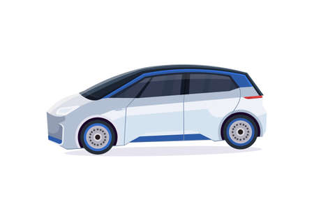 electric car icon eco friendly vehicle city transport concept flat horizontal white background vector illustration