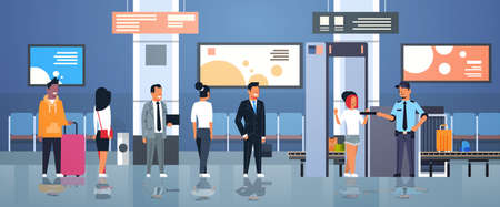police officer checking passengers and luggage at metal detector x-ray gate full body scanner airport security check concept department terminal interior flat horizontal vector illustration