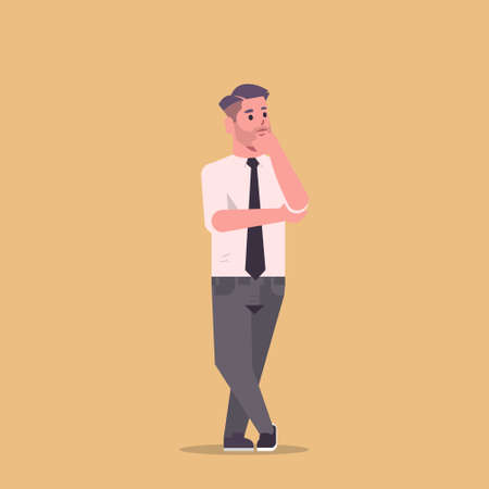 businessman in formal wear holding hand on chin standing pose smiling male cartoon character business man office worker posing flat full length vector illustration 矢量图像