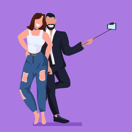 couple taking selfie photo on smartphone camera man woman embracing standing together female male cartoon characters posing flat full length vector illustration