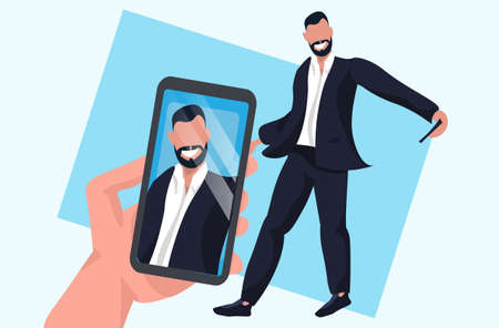 hand holding smartphone and taking photo on camera businessman standing pose male cartoon character posing flat full length horizontal vector illustration