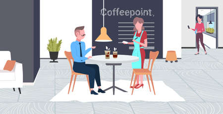 waitress taking order from businessman visitor cafe worker in apron serving drinks to man having break business time concept modern coffee point interior flat full length horizontal vector illustratio