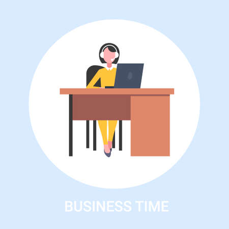 female customer support operator sitting at workplace desk woman with headset call center assistant business time concept full length flat vector illustration