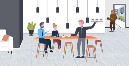 waiter serving drinks to businesspeople couple man woman having break business time coffee point concept flat full length modern cafe interior horizontal vector illustration 일러스트