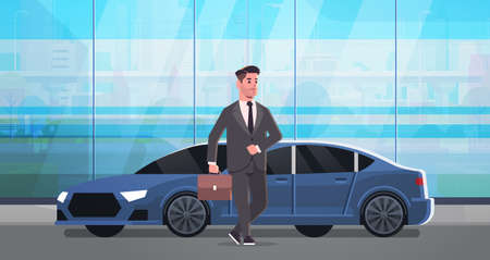 businessman standing near luxury car man in suit holding suitcase going to work business concept flat full length horizontal vector illustration