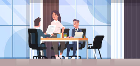businesspeople discussing contract during business development meeting colleagues partners working with co-investment document negotiation concept office interior flat horizontal vector illustration Illustration
