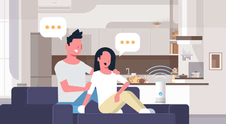 couple sitting on couch man woman using smartphone smart speaker voice recognition concept chat bubble communication modern living room interior flat horizontal vector illustration
