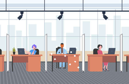 coworkers in creative office operators sitting at workplace desks with sticky notes paper reminder concept co-working open space interior flat horizontal full length vector illustration