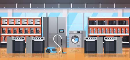 Différents appareils ménagers équipement de maison électrique magasin de détail moderne salle d'exposition intérieur plat horizontal illustration vectorielle