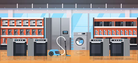 different home appliances electric house equipment modern retail store showroom interior flat horizontal vector illustration