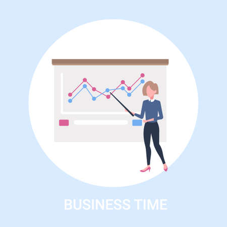 businesswoman presenting financial graphs training conference presentation concept business woman explaining chart flat full length vector illustration