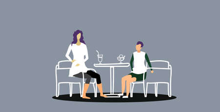 mother with son sitting at cafe table woman drinking coffee boy eating ice cream family having fun in restaurant sketch doodle horizontal full length vector illustration Vectores